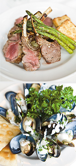 Rack of Lamb; Mediterranean Mussels. Photos by Hubert Bonnet