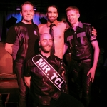 Back row, left to right: Luke Wallrich, Karri Plowman and Tynan Fox, the three co-owners of Twin Cities Leather, pose in back of new Mr. Twin Cities Leather Kyle Truss