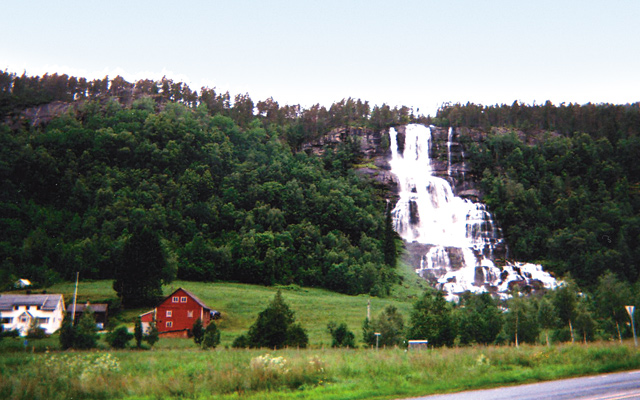 Waterfall on the National Tourist Routes through the fjords. Photo by Carla Waldemar